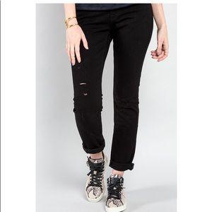 FRAME denim Le Garçon Mid-rise Black Jeans